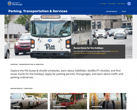 Parking, Transportation & Services Home Page
