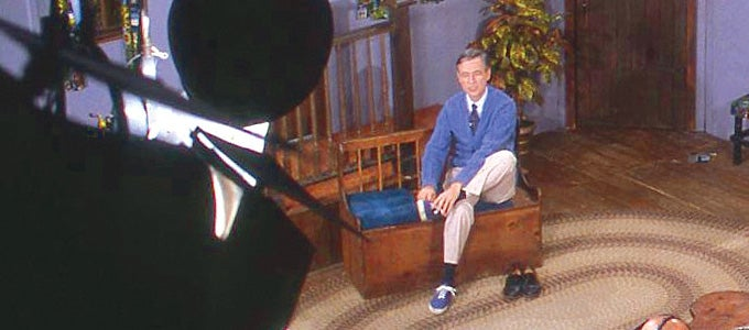 Fred Rogers on set